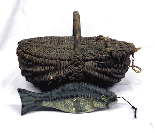 Antique East Coast Fish Basket with Wooden Fish