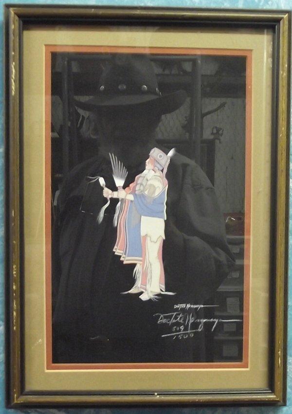 Framed & Matted Doc Tate Nevaquaya Signed Print - 2