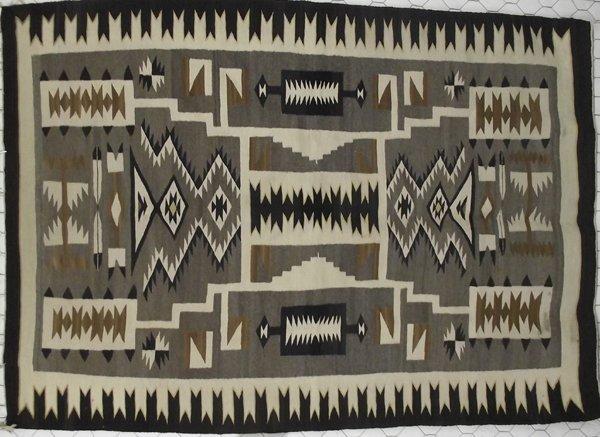 1940s Navajo Crystal Pictoral Storm Rug