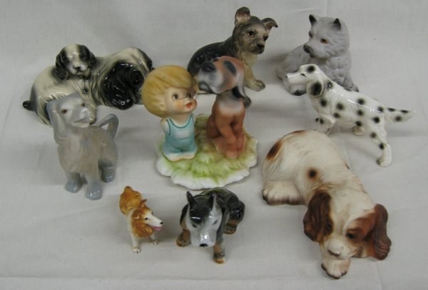 Vintage Collection of Nine Ceramic Dogs