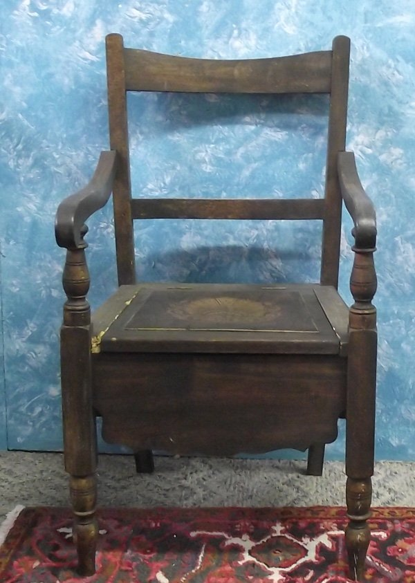 Antique Wooden  Chamber Pot Chair MBPU