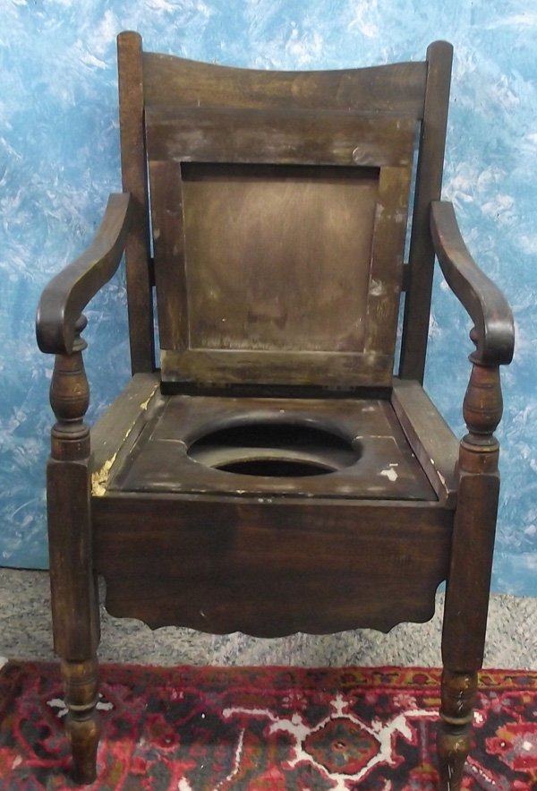 Antique Wooden  Chamber Pot Chair MBPU - 2