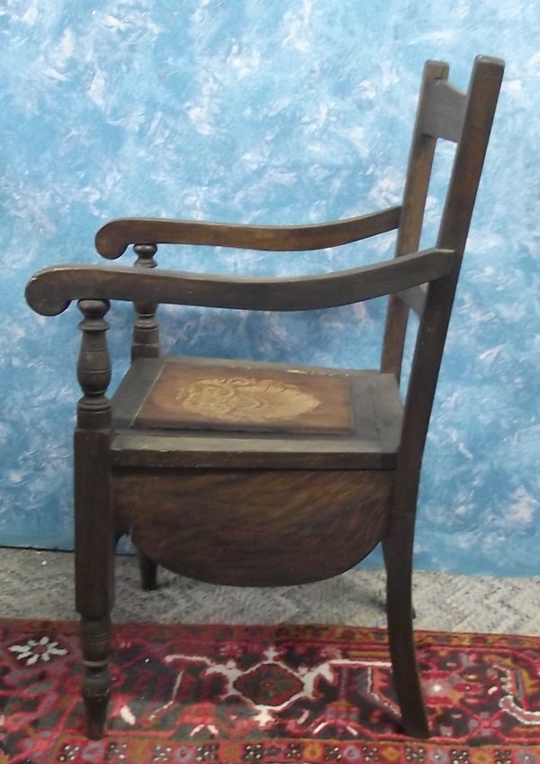 Antique Wooden  Chamber Pot Chair MBPU - 3