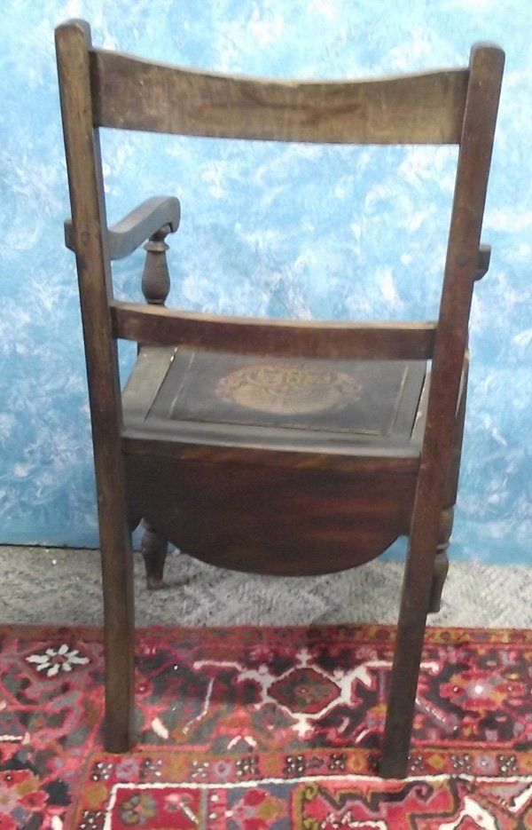 Antique Wooden  Chamber Pot Chair MBPU - 4