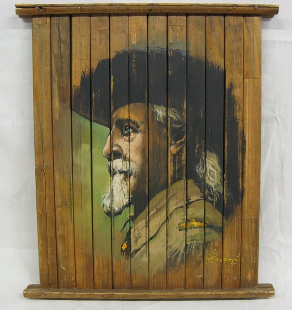 Painting on Wood Slats of Buffalo Bill Cody