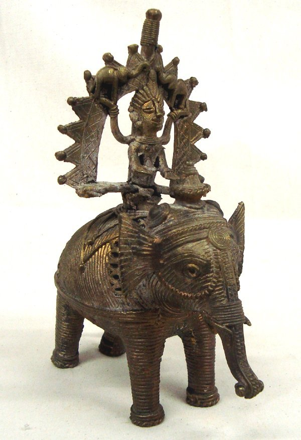 Vintage East India Dhokra Man on Elephant Folk Art