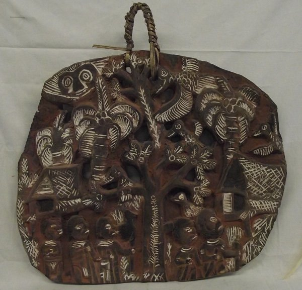 Primitive Carved New Guinea Folk Art Story Board