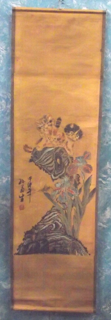 Antique Japanese Scroll Painting on Rice Paper