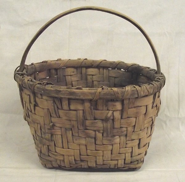 Antique Split Oak Handled Georgia Basket by SR Young