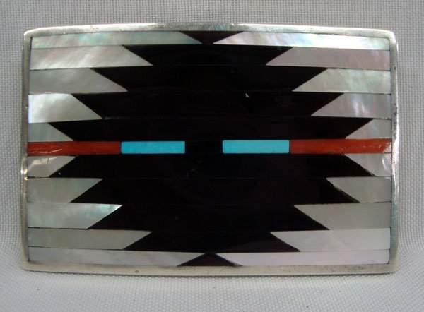Zuni Sterling Inlay Belt Buckle, by C. Dishta