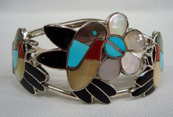 Zuni Hummingbird Bracelet, Channel Inlay - Ella Guia