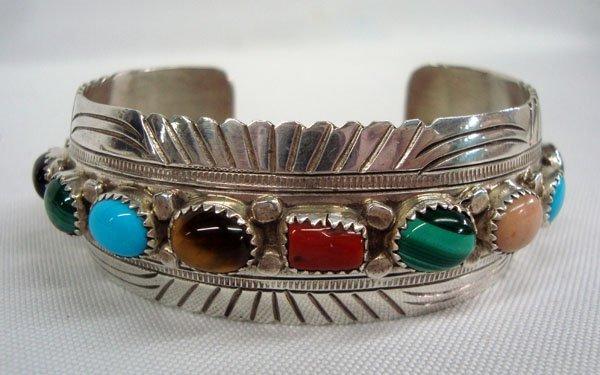 Navajo Sterling Multi-Stone Bracelet, Signed