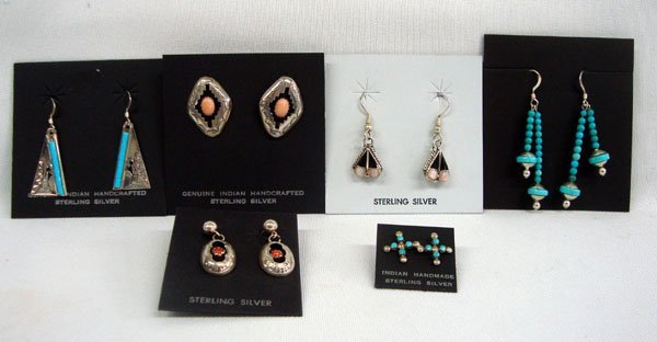 Zuni Sterling Earrings, 6 Pairs, Many Styles