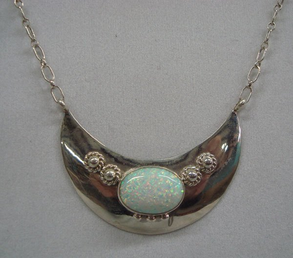 Navajo Sterling & Opal Necklace, Signed