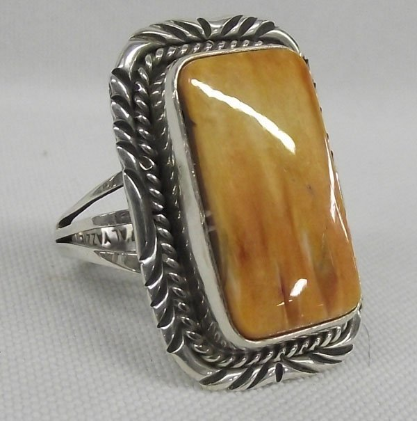 Navajo Sterling Spiny Shell Ring - A.L. Yazzie