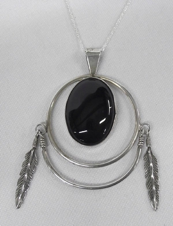 Navajo Sterling Silver & Jet Pendant Necklace