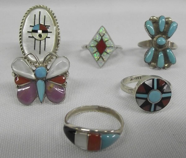 Collection of Six Zuni Sterling Rings