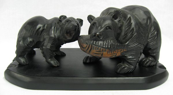 Wood Carving of Bears with Wooden Stand