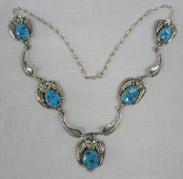 Navajo Sterling Turquoise Necklace by Elsie Yazzie