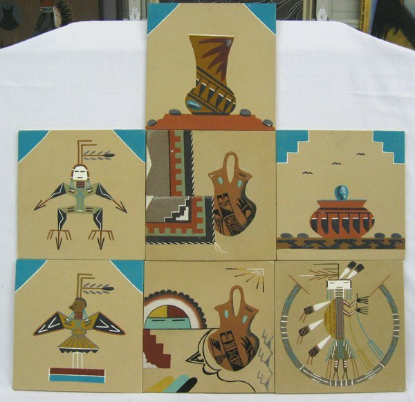 Seven Navajo Sand Paintings by Watchman