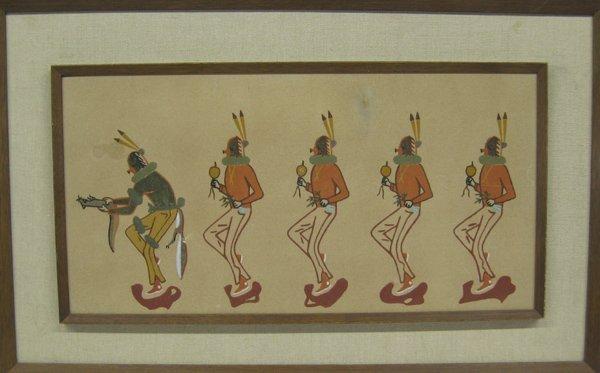 Framed Navajo Yei Bi Chei Sand Painting
