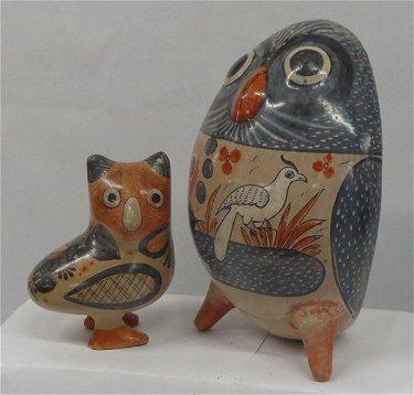 Pr Vintage Mexican Tonala Pottery Owls by Mateos
