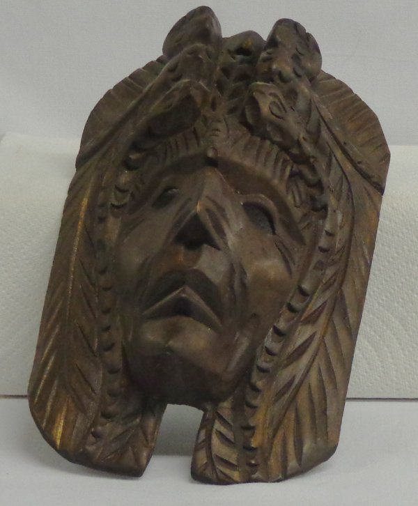 Mexican Carved Wooden Owl Snake and Face Mask
