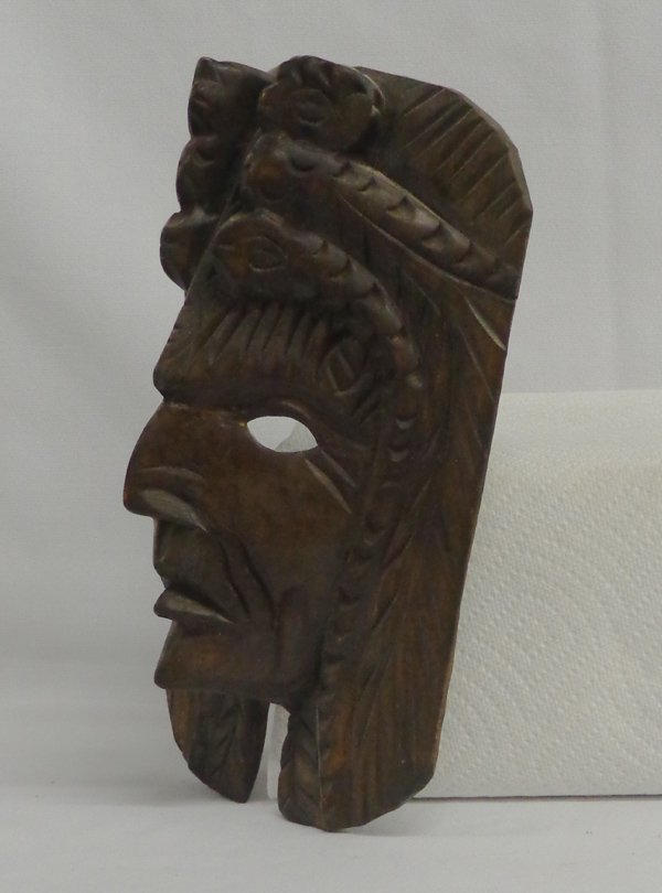 Mexican Carved Wooden Owl Snake and Face Mask - 2