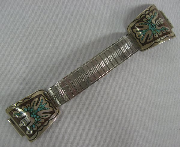 Navajo Sterling Chip Inlay Peyote Bird Watch Band