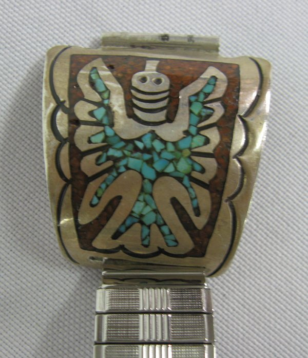 Navajo Sterling Chip Inlay Peyote Bird Watch Band - 2