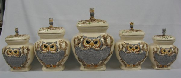Rare Vintage Owl Canisters by Betty St. John  MBPU