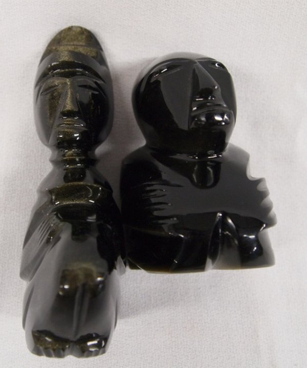 Pr 1960  Mexican Carved Obsidian Mayan Sculptures