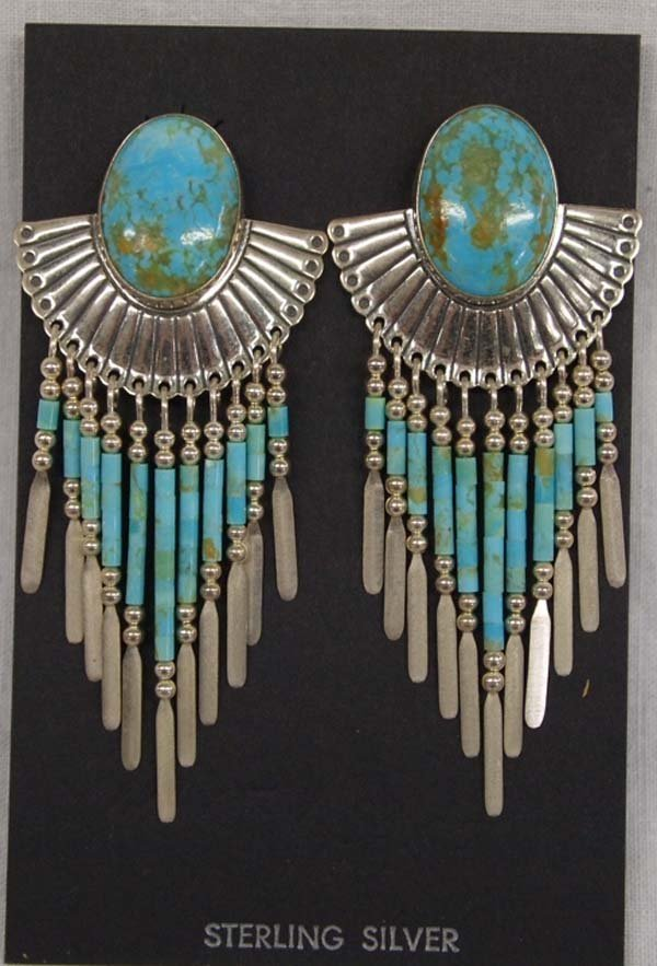 Quoc Turquoise Company Sterling Turquoise Earrings
