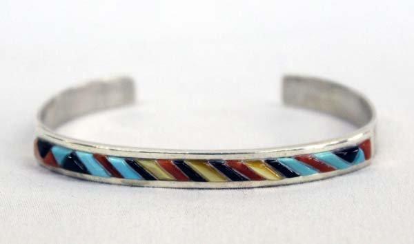 Zuni Sterling Overlay Stone Bracelet by Banteah