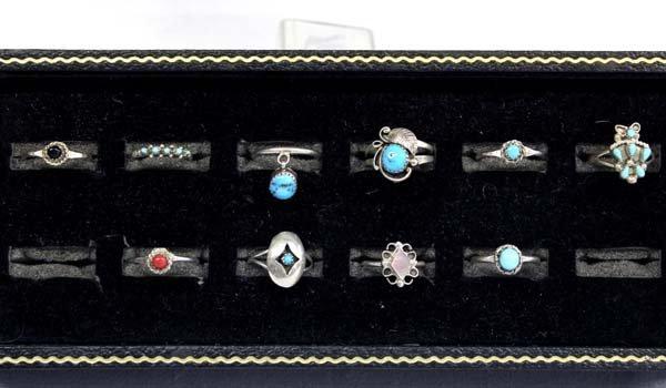 8 Navajo Sterling Rings & 2 Zuni Sterling Rings