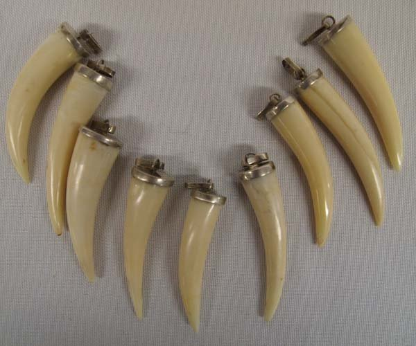 9 Serling Silver Claw Pendants, findings are sterling