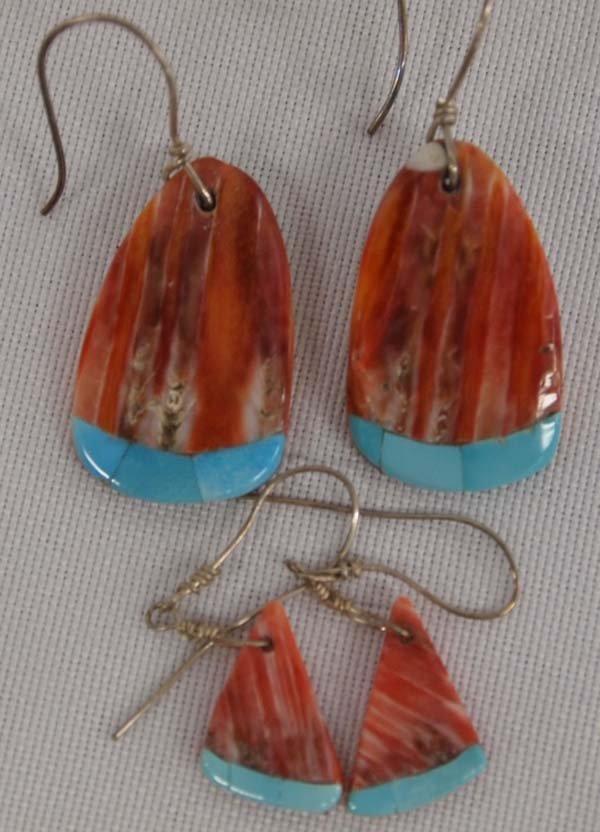 2 Pair Santo Domingo Inlay Shell Earrings