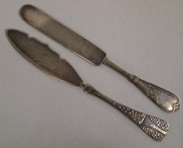 1880 Pairpoint  & 1847 Rogers Master Butter Knives
