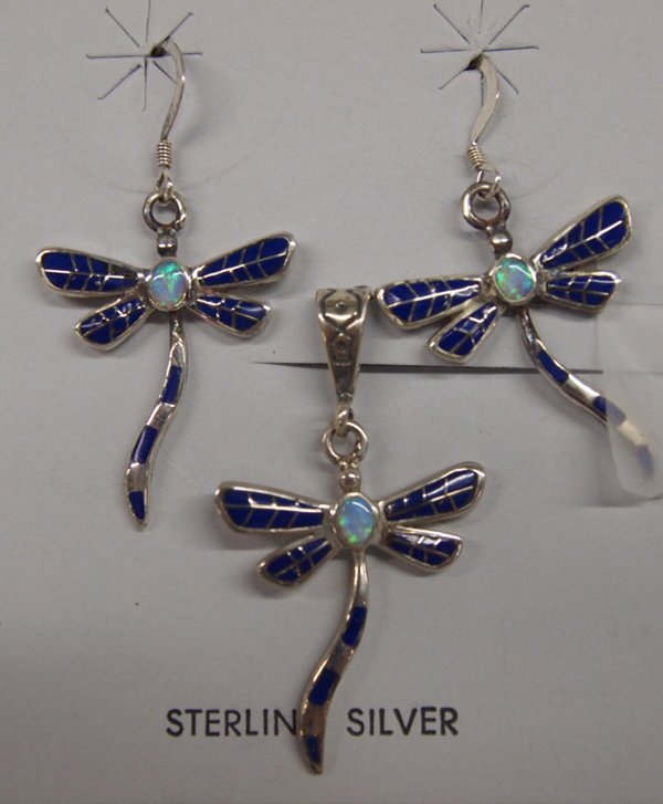 Sterling Lapis and Opal Inlay Dragonfly Set