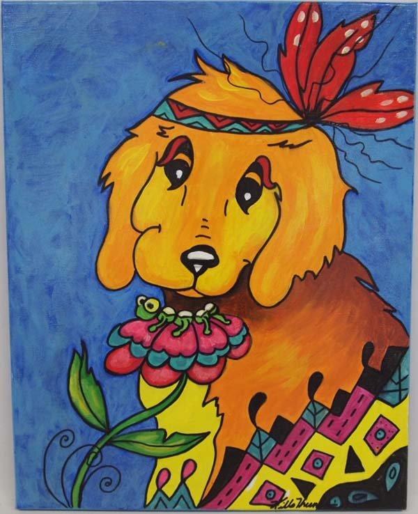 Original Acrylic Puppy and Caterpillar by Kills Thunder