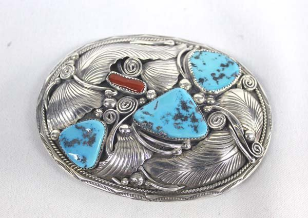1970 Navajo Silver Turquoise Coral Buckle - McCray