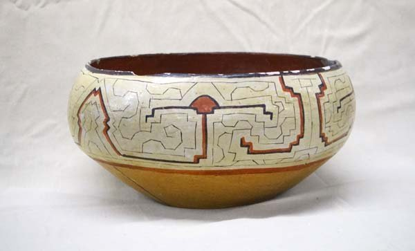 Peruvian Shipibo Polychrome Pottery Bowl