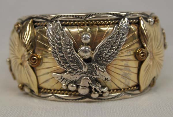 Navajo Sterling 12KGF Cuff Bracelet by Craig