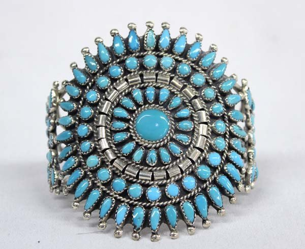 Zuni Silver Turquoise Cluster Bracelet - J Weekoty