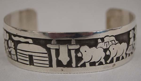Navajo Silver Storyteller Bracelet by Virgil Reeder