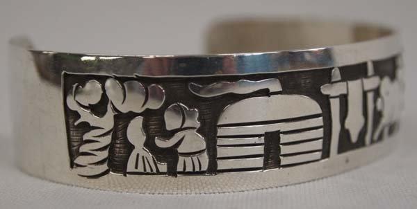 Navajo Silver Storyteller Bracelet by Virgil Reeder - 2
