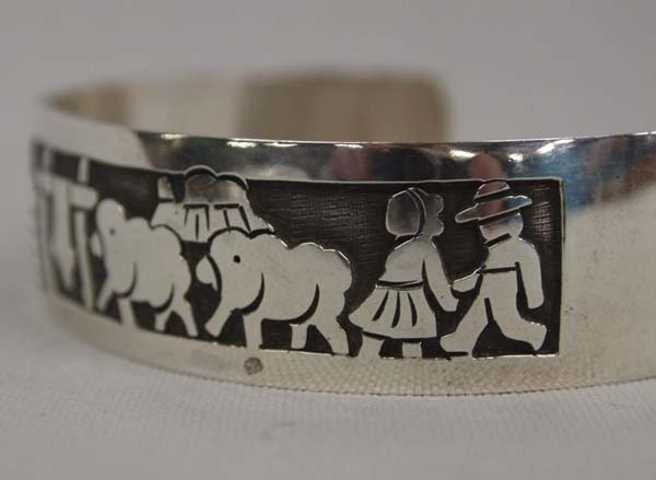 Navajo Silver Storyteller Bracelet by Virgil Reeder - 3
