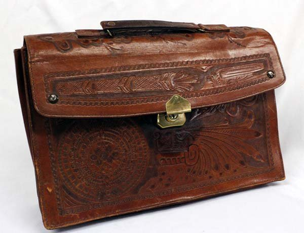 Vintage Mexican Tooled Leather Briefcase