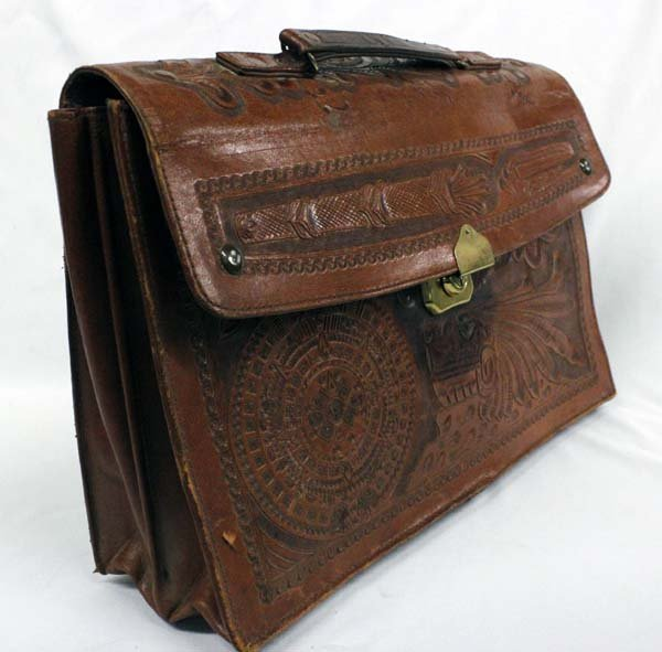 Vintage Mexican Tooled Leather Briefcase - 2