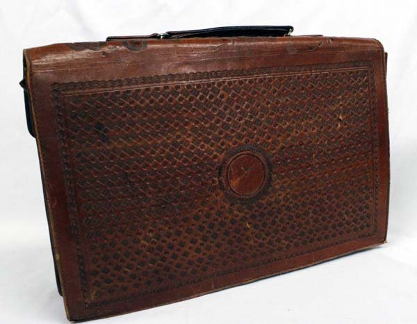Vintage Mexican Tooled Leather Briefcase - 3